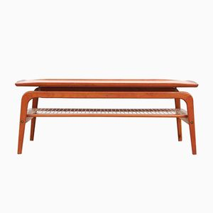 Mid-Century Modern Teak and Cane Coffee Table, 1960s