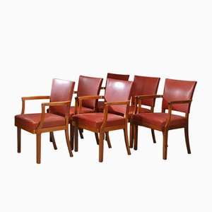 Mahogany & Walnut Barcelona Armchairs by Kaare Klint for Rud. Rasmussen,1935, Set of 6
