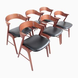 Vintage Dining Chairs in Teak with Black Leather by Kai Kristiansen, Set of 6