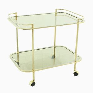 Vintage Brass & Smoked Glass Serving Trolley