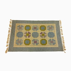 Mid-Century Swedish Flat Weave Carpet by Birgitta Södergren