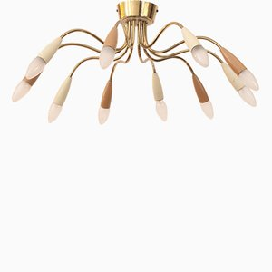 Mid-Century German Brass Chandelier