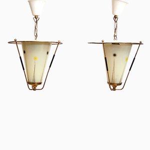 Mid-Century Hängeleuchten mit Glasschirmen, 2er Set