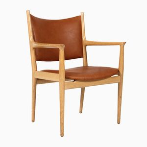 JH-513 Oak and Leather Armchair by Hans J. Wegner for Johannes Hansen