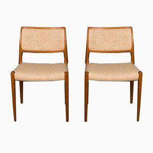 Model 80 Teak Dining Chairs by Niels Otto Møller for J.L. Møllers Møbelfabrik, 1960s, Set of 2