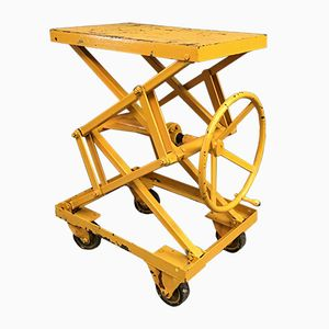 Industrial Height Adjustable Yellow Cart