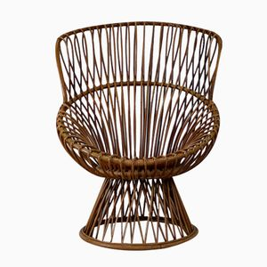 Rattan High-Back Lounge Chair by Dirk van Sliedregt for Rohe, 1963
