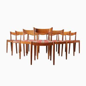 Oak Dining Chairs by Ib Kofod-Larsen for Slagelse Møbelværk, 1950s, Set of 10