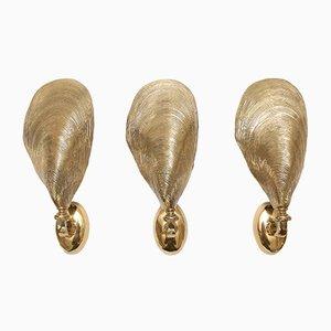 Muschel Wandleuchten aus Bronze von Maison Jansen, 1970er, 3er Set