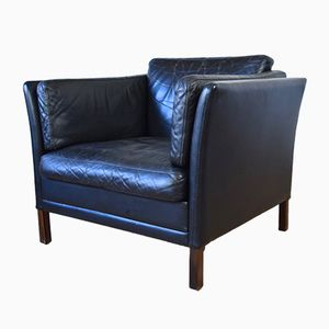 Danish Black Leather Club Chair, 1960s