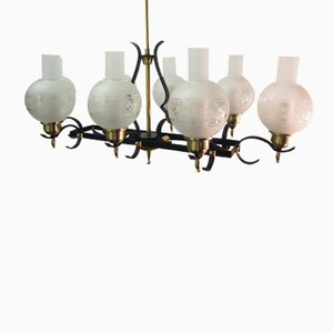 French Wrought Iron & Glass Chandelier from Jules Leleu, 1952