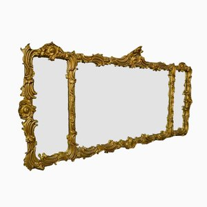 Large Antique Rococo Style Overmantle Mirror