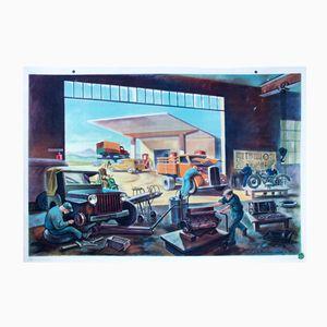 Affiche Murale Mécanique Automobile par Rudolf Dirr pour Hoffmanndruck, 1963
