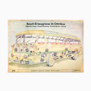 Omnibus Wandkarte von Robert Bosch, 1949
