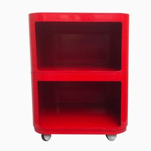 Spanish Red ABS Office Trolley by Anna Castelli for Samoes, 1970s