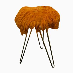 Lambskin Stool with Hairpin Legs, 1960s
