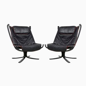 Black Falcon Chairs by Sigurd Resell for Vatne Møbler, 1970s, Set of 2