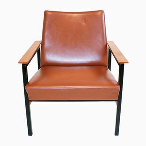 Mid-Century Swiss Leather Armchair