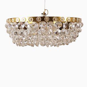 Lampe Vintage en Cristal en Forme de Panier, Autriche