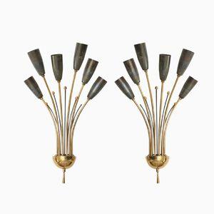 Brass Sconces, 1950s, Set of 2
