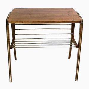Vintage Austrian Brass & Walnut Side Table with Magazine Rack