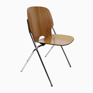 Vintage Swiss Industrial Plywood Stacking Chair from Embru