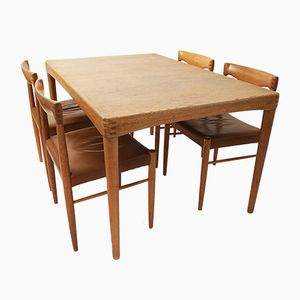 Mid-Century Extendable Table & Five Chairs by H.W. Klein for Bramin