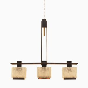 Mid-Century French Brass and Glass Pendant Lamp from Maison Arlus, 1950s