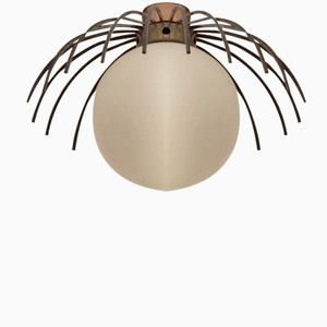 Mid-Century Metal and Glass Pistil Ceiling Lamp, 1950s