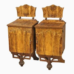 Italian Burl Walnut Bedside Tables, 1950s, Set of 2