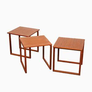 Tables Gigognes en Cubes en Teck par Kai Kristiansen pour Vildbjerg Møbelfabrik, 1960s