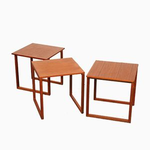 Teak Nesting Cube Tables by Kai Kristiansen for Vildbjerg Møbelfabrik, 1960s