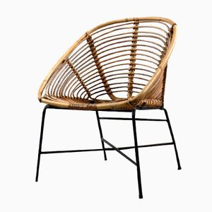 Vintage French Metal and Rattan Armchair, 1960s
