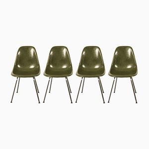 Green Side Chairs by Charles & Ray Eames for Herman Miller, 1960s, Set of 4