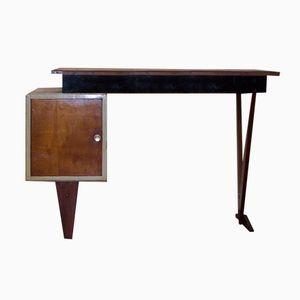 Vintage Wooden Desk with Triangular Legs, 1950s