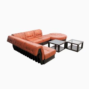 Vintage Leather Modular Sofa by Luciano Frigerio