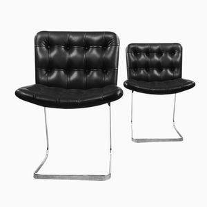 Italian Bauhaus Button Quilted Black Leather Chairs, 1950s, Set of 2