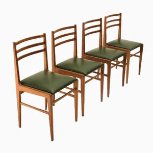 Wood and Eco-Leather Chairs, 1950, Set of 4
