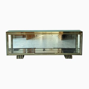 Art Deco Showcase and Console in Gilt and Patinated Bronze, 1930s