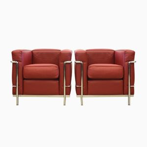 Cassina LC2 Club Chairs by Le Corbusier for Cassina, 1980s, Set of 2