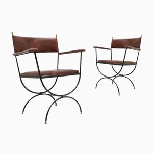 French Neo Classical Armchairs in Blackened Iron, 1950s, Set of 2