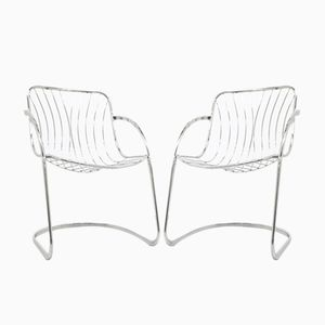 Italian Bridge Armchairs in Steel, 1970s, Set of 2