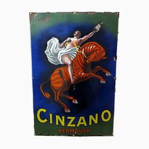 Flaches Emailliertes Cinzano Schild von Leonetto Cappiello, 1925