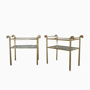 Vintage Brass End Tables, Set of 2
