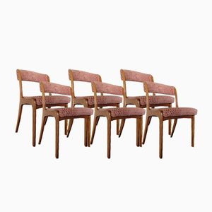 Vintage Scandinavian Teak and Velvet Chairs, Set of 6