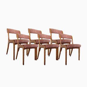 Vintage Scandinavian Teak and Velvet Chairs, Set of 6