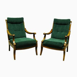 19th Century Continental Beech Armchairs, Set of 2