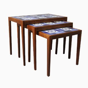 Danish Rosewood Nesting Tables with Ceramic Tiles, 1960s
