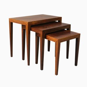 Rosewood Nesting Tables by Severin Hansen for Haslev, 1960s