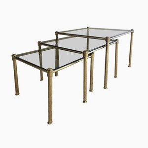 Brass And Smoked Glass Nesting Tables, 1960s